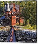 Rail Reflection At The Train Station Acrylic Print