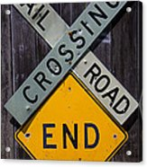 Rail Road Crossing End Sign Acrylic Print by Garry Gay