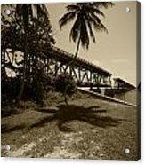 Railroad  Bridge In Sepia Acrylic Print