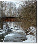 Railroad Bridge In Winter Acrylic Print
