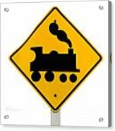 Railroad Crossing Steam Engine Roadsign On White Acrylic Print
