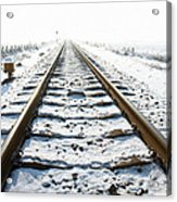 Railroad In Snow Acrylic Print