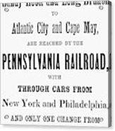 Railroad Resorts, 1884 Acrylic Print