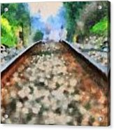 Railroad Tracks In The Summer Heat Acrylic Print