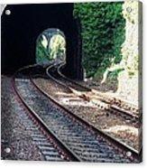 Railroad Tracks At Conway Castle, Wales  Acrylic Print