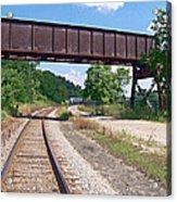 Railroad Train Tracks And Trestle Acrylic Print