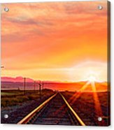 Rails To The Red Sky Acrylic Print
