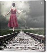Railway Tracks Acrylic Print by Joana Kruse