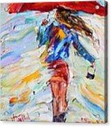 Rain Dance With Red Umbrella Acrylic Print