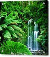 Rain Forest And Waterfall Acrylic Print
