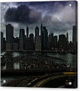Rain Showers Likely Over Downtown Manhattan Acrylic Print
