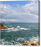 Rainbow Over Cape Dombey Obelisk Acrylic Print