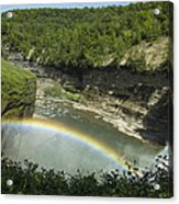 Middle Falls With Rainbow Acrylic Print