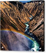 Rainbow At The Grand Canyon Yellowstone National Park Acrylic Print