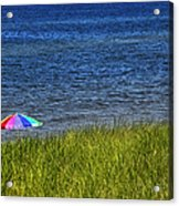 Rainbow Beach Umbrella Acrylic Print