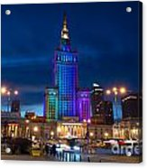 Palace Of Science And Culture In Rainbow Colors  Acrylic Print