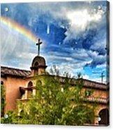 Rainbow Cross Church Acrylic Print
