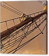 Tall Ship Meets Rainbow Acrylic Print