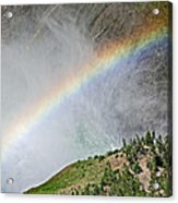 Rainbow From Spray Of Lower Yellowstone Falls Against Yellowstone Canyon Wall-wyoming  Acrylic Print