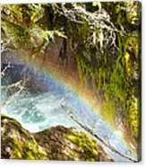 Rainbow In Avalanche Creek Canyon In Glacier National Park-montana Acrylic Print