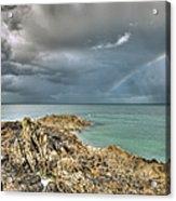 Rainbow In Storm Clouds Pointe De Saint Cast  Acrylic Print