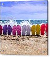 Rainbow Of Flip Flops On The Beach Acrylic Print