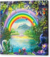 Backgraund Rainbow On Varshana  Acrylic Print by Lila Shravani