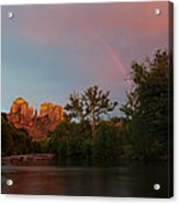 Rainbow Over Cathedral Rocks Acrylic Print