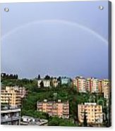 rainbow over Genova Acrylic Print