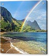 Rainbow Over Haena Beach Acrylic Print