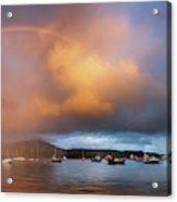 Rainbow Over Harbor At Sunset, Portree Acrylic Print