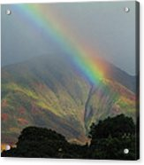 Rainbow Over Maui Mountains Acrylic Print