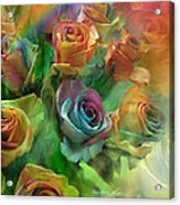 Rainbow Roses Acrylic Print by Carol Cavalaris