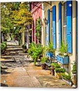 Rainbow Row Sidewalk Acrylic Print