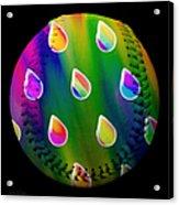 Rainbow Showers Baseball Square Acrylic Print