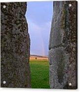 Rainbow Through Stonehenge Sarsens Acrylic Print