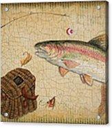Rainbow Trout-basket Weave Acrylic Print