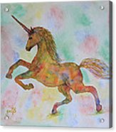 Rainbow Unicorn In My Garden Original Watercolor Painting Acrylic Print
