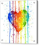 Rainbow Watercolor Heart Acrylic Print
