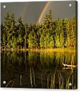 Rainbows Over Otter Lake Acrylic Print by Thomas Pettengill