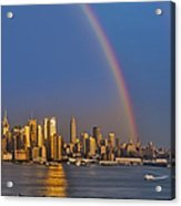 Rainbows Over The New York City Skyline Acrylic Print by Susan Candelario