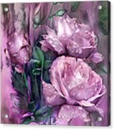 Raindrops On Pink Roses Acrylic Print