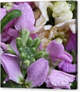 Raindrops On Purple And White Flowers Acrylic Print