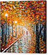 Rainy Autumn Day Palette Knife Original Acrylic Print