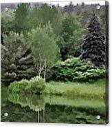 Rainy Day At The Pond Acrylic Print