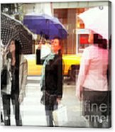 Rainy Day In The City - Blue Pink And Polka Dots Acrylic Print
