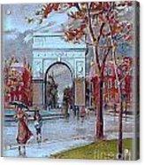 Rainy Day In Washington Square- New York City- 1905 Acrylic Print