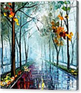 Rainy Day - Palette Knife Oil Painting On Canvas By Leonid Afremov Acrylic Print