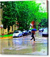 Rainy Days And Mondays Girl Running With The Blue Umbrella Montreal Art City Scenes Carole Spandau Acrylic Print