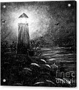 Rainy Night At The Lighthouse Acrylic Print